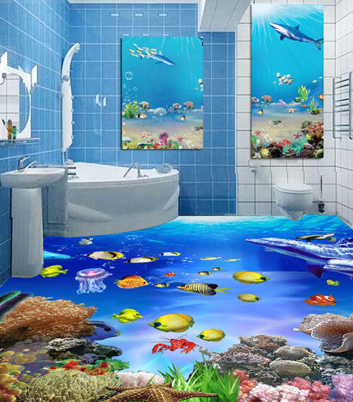 3D Coral Dolphins Fish Reef Floor Mural Photo Flooring Wallpaper Home Wall Decal