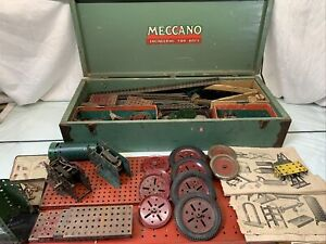 RARE-Antique-Gilbert-Meccano-Erector-Set-w-25-5-034-Wood-Box-Early-1930-039-s-Original
