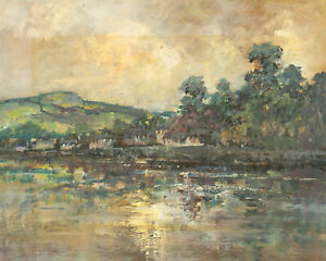 Stella-Mary-Edwards-1898-1989-20th-Century-Oil-Houses-on-a-River
