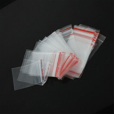 500Pcs 3Sizes Ziplock Zip Zipped Lock Reclosable Plastic Poly Clear Seal Bags