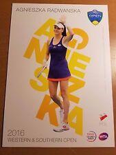 AGNIESZKA RADWANSKA 5X7 2016 WESTERN & SOUTHERN ATP TENNIS COLLECTOR CARD