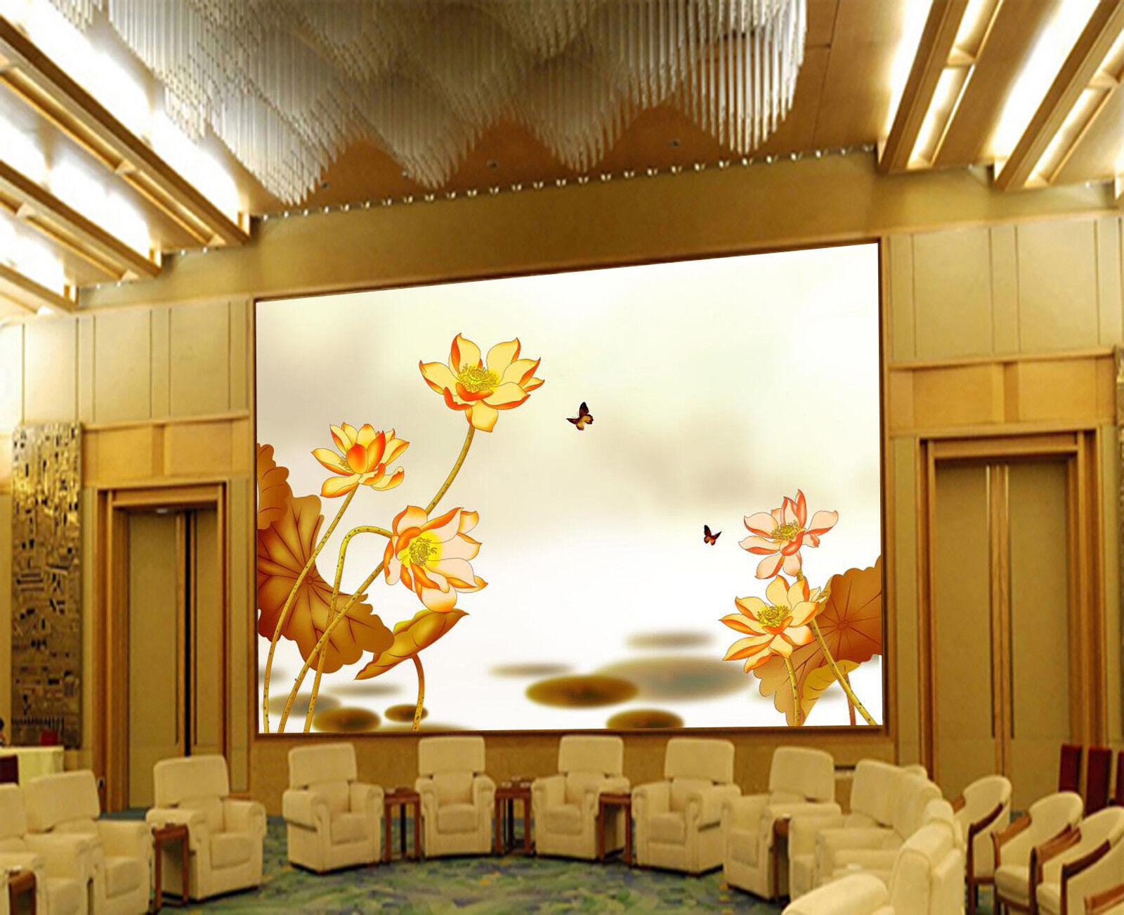3D Butterfly Lotus 7 Wall Paper Murals Wall Print Wall Wallpaper Mural AU Summer