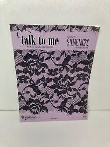 """GéNéReuse Stevie Nicks """"talk To Me"""" Musique En Feuille-neuf En Promotion - 1986-extrêmement Rare-emely Rare Fr-fr Afficher Le Titre D'origine"""