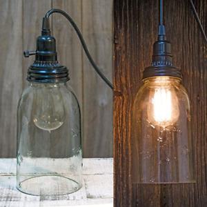 New Primitive Farmhouse QUART MASON JAR PENDANT LIGHT Hanging Electric Lamp