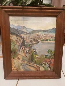 Trudi KUHN, peintre suisse née en 1912, huile sur toile paysage