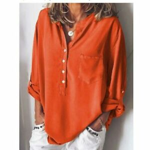 Solid-Long-Sleeve-Tops-Casual-Loose-Blouse-Shirt-T-shirt-Ladies-Women-039-s-Fashion