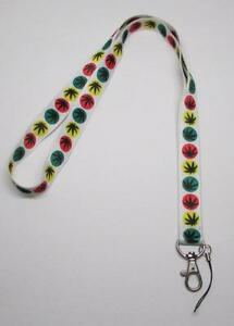 White-WEED-Marijuana-Leaf-Pot-420-LANYARD-KEY-CHAIN-Ring-Keychain-ID-Holder-NEW