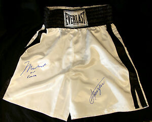 Muhammad-Ali-Aka-Cassius-Clay-And-Joe-Frazier-Mega-Rare-Dual-Signed-Trunks-O-A