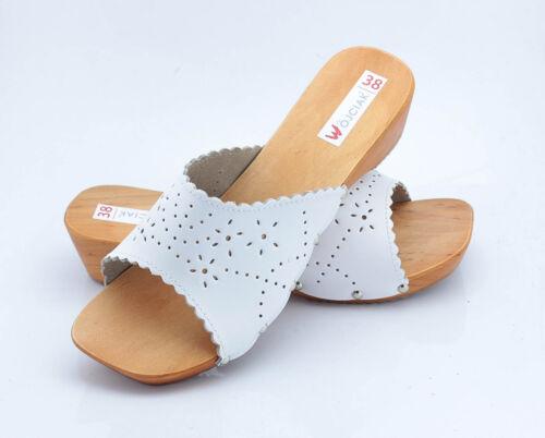 Sabots Femmes Cuir Véritable de Bois Chaussures en Sandales Baskets