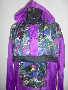 vintage-80s-Nylon-Regenjacke-oldschool-design-Schlupfjacke-glanz-Jacke-80er-M-L