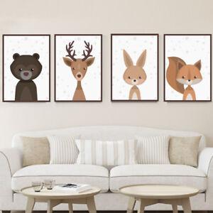 Détails Sur Cartoon Animal Peinture Sur Toile Poster Murale Décoration Chambre Enfant Maison