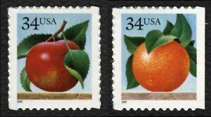 #3491-3492 34c Apple Y Naranja, Individuales, Nuevo Cualquier 5=