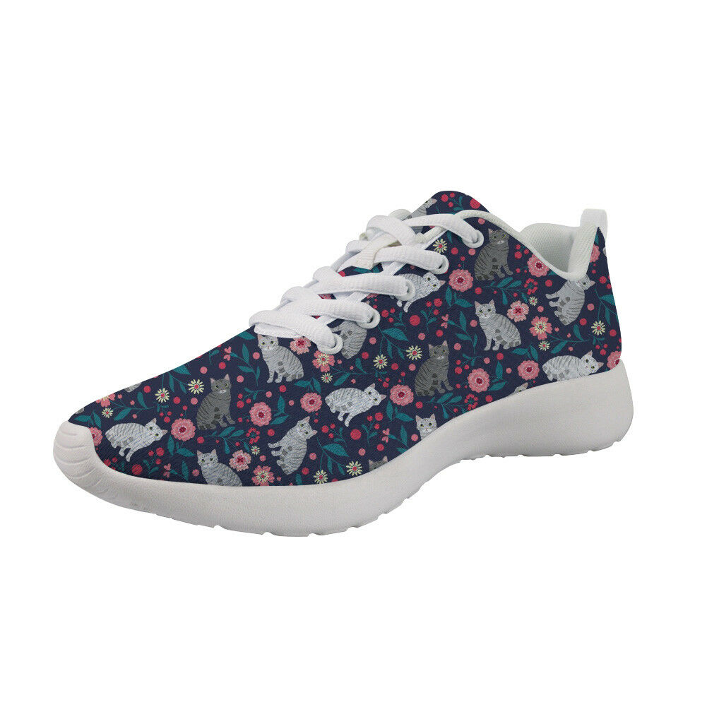 Girls Boy Casual Sport shoes Floral Cat Design Running shoes For Women Trainers