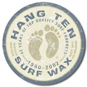 Hang-Ten-Surf-Wax-12-034-Round-Tin-Sign-Nostalgic-Metal-Sign-Retro-Home-Wall-Decor