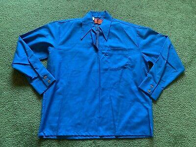 vtg 70s Sears Perma-Prest Slick Surface Nylon Blend SS Button Down Shirt sz L