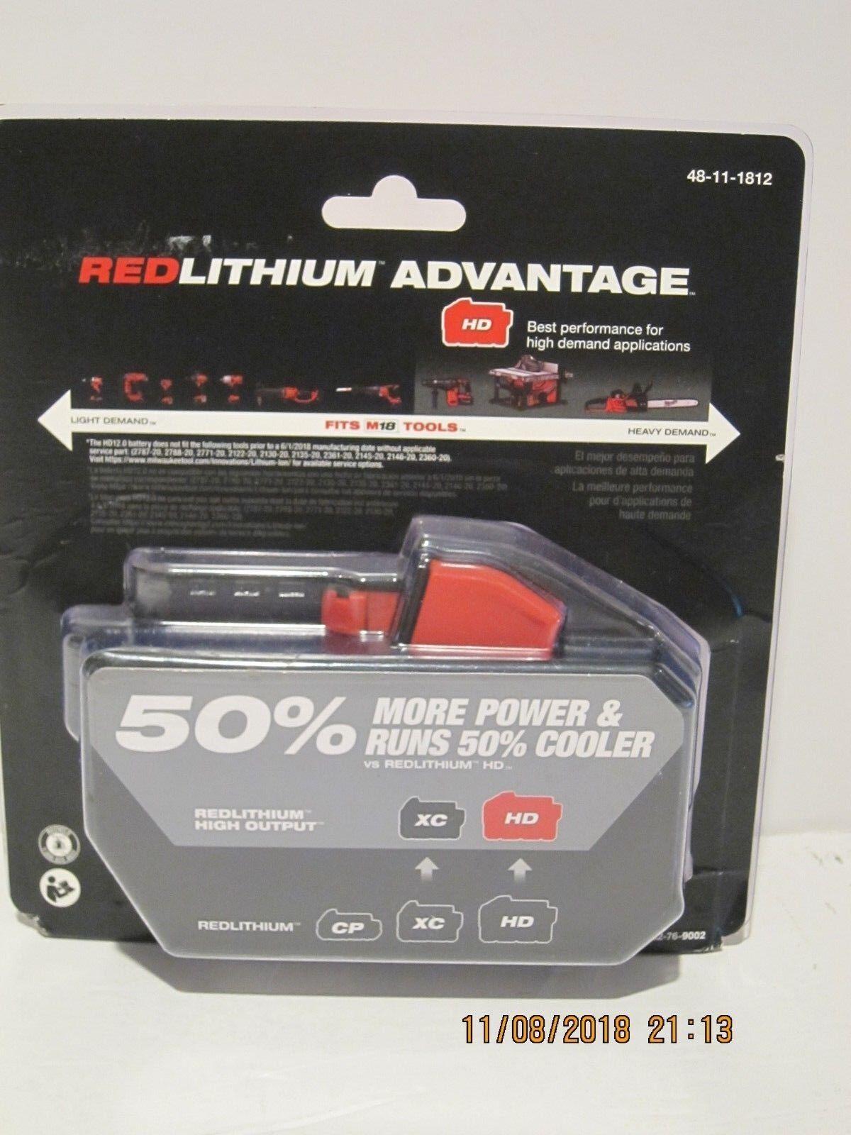 Genuine Milwaukee M18 XC 12 amp Red Lithium High Demand Battery NEW 48-11-1812