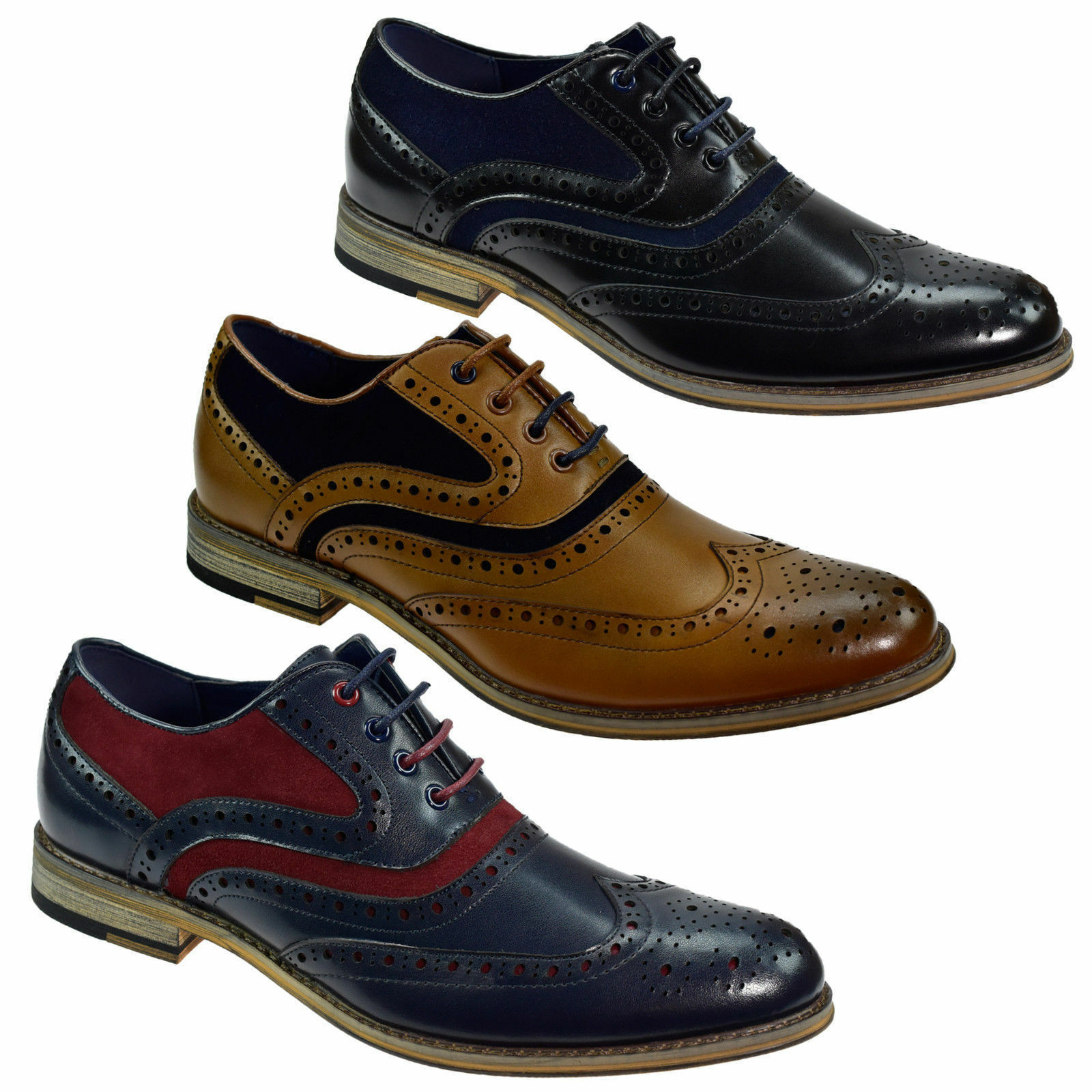 Mens Real Leather Italian Brogues 2 Tone schuhe Formal Wedding Casual Footwear