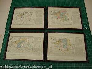 4-Antique-framed-maps-Belgium-1868-map-kaart-Belgie-Pays-Bas-carte