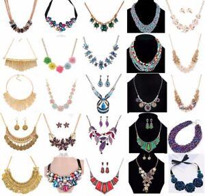 Women-Choker-Bib-Chunky-Crystal-Flower-Pendant-Chain-Statement-Necklace-Jewelry