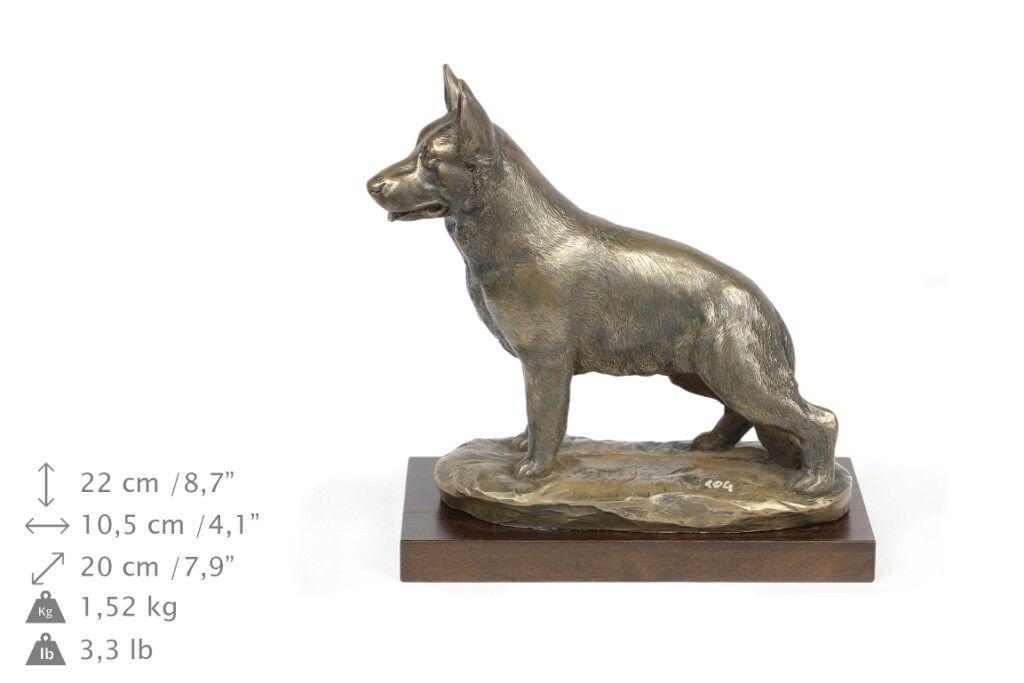 German Shepherd - dog figurine on wooden base, high quality, Art Dog
