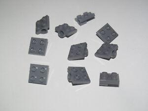 Lego ® Lot x10 Plaques Essieu 2X2 Plate Modified w Hole DK Stone Grey 2444 NEW