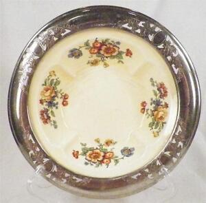 Golden-Maize-Pottery-Bowl-Farberware-Sebring-Pottery-Vinitage-Chrome-Edge-AS-IS