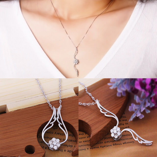 Necklace 3 Ways To Wear Attractive Silver Crystal Flower Elegant  Wing Style HOT
