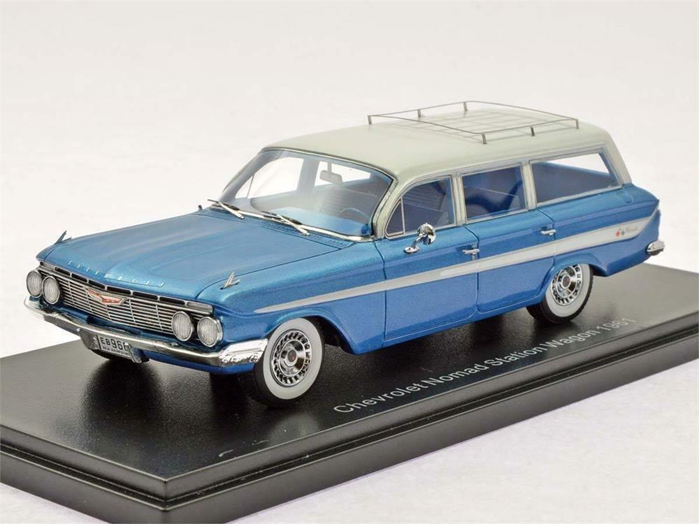 Disfruta de un 50% de descuento. 1961 Chevrolet Chevrolet Chevrolet Nomad Station Wagon Azul Metálico en escala 1 43 por Neo  ahorrar en el despacho