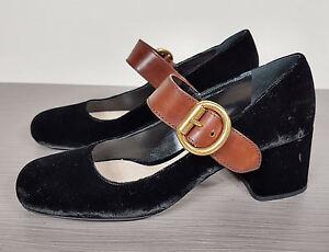 Prada-Mary-Jane-Pumps-Black-Velvet-Brown-Leather-Womens-Size-8-5-38-5-690