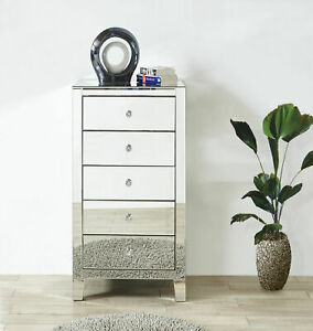 Mirrored Dresser Chest Cabinet Silver Bedroom Bathroom Hallway 5 Drawer Tall 45 Ebay