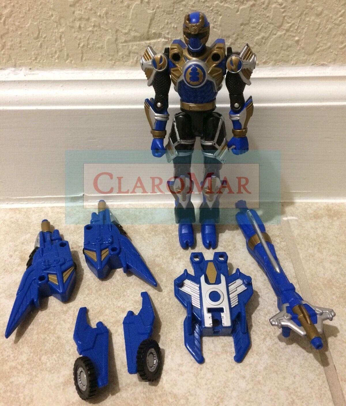 ☀️ 2002 Power Rangers Ninja Storm Navy Thunder Turbo Tri-Battlized Figure RARE