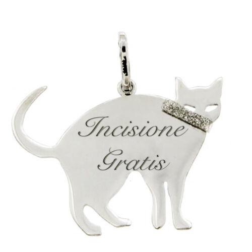 Ciondolo gatto nella notte mm 20x25 in argento 925 rodiato -personalizzabile
