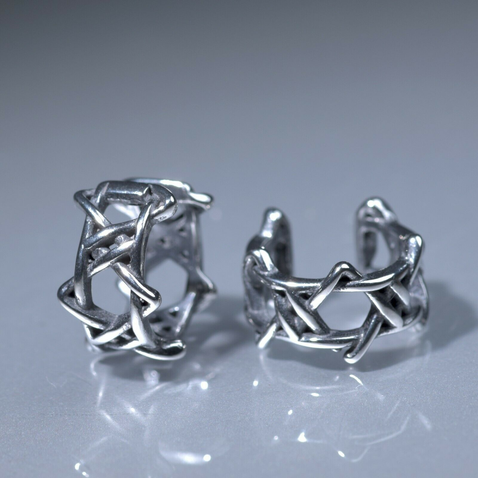 Silver stud star of David pattern stainless steel earrings huggies cuff screw on
