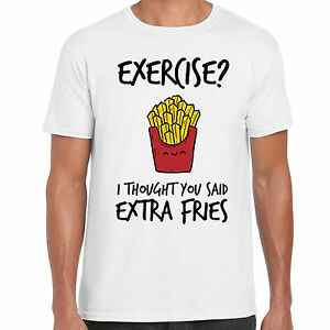 Grabmybits Exercise I Thought You Said Extra Fries Funny Adult T Shirt Gym Ebay