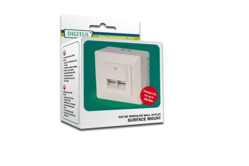 CAT5e Netzwerkdose Aufputz/Unterputz 2xRJ45 RAL9010 / DIGITUS® DN-9002N NEU