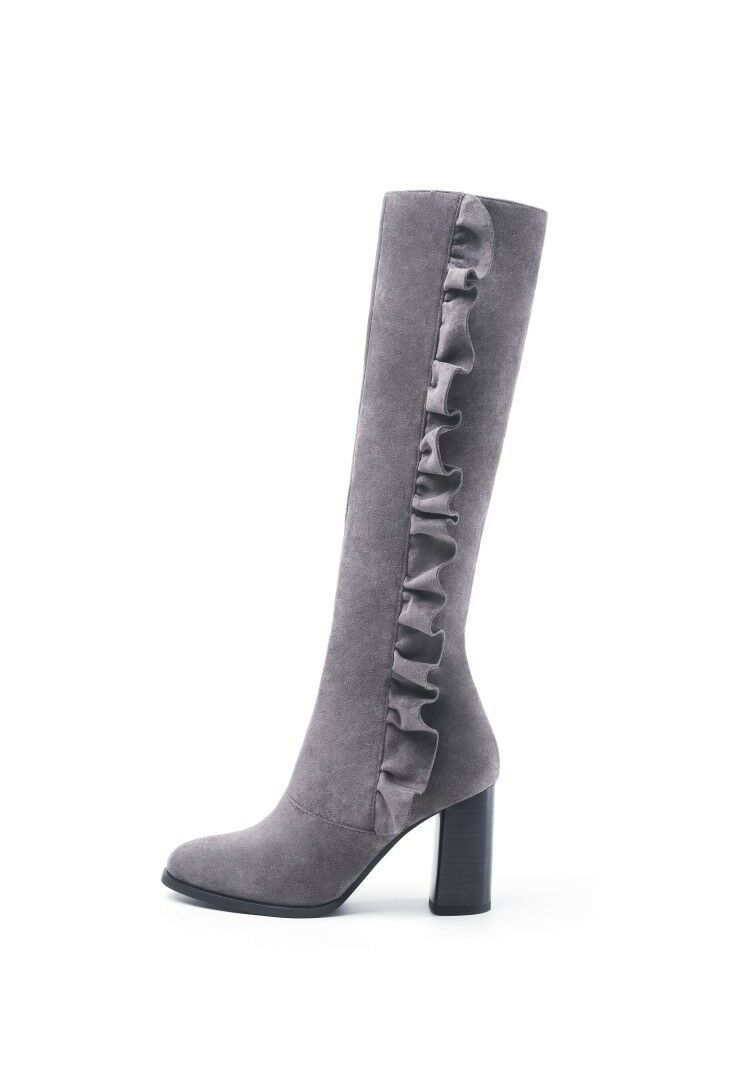 Womens Ladies Fashion Leather Flouncing Block Heel Knee High Boots Boots Boots shoes casi 07e30f