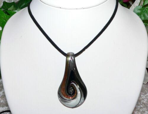 Anhänger Glas Murano Art Lampwork Tropfen schwarz silber grau kupfer 317g