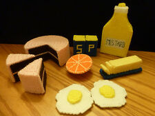 Toy Play Food Handmade Yarn Canvas Cross Stitch Cake Butter Eggs Mustard Orange