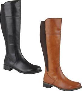 Cipriata-SILVIA-Ladies-Womens-Leather-Zip-Up-High-Leg-Elasticated-Calf-Boots