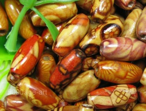 200pcs Mixed Wood OVAL rice loose Spacer CHARM  Bead   14.8mm