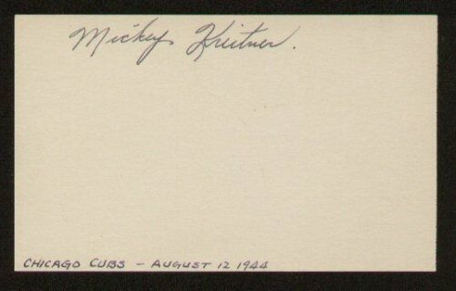 Mickey Kreitner signed autographed 3x5 index card E1424