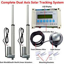 """LCD Solar Tracking Tracker Dual Axis Kit&2*10"""" Linear Actuator Home Power Supply"""