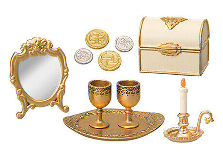 1//12 Scale Miniature Gold Candelabra 5 White Candles Dollhouse Kitchen toy F Fs