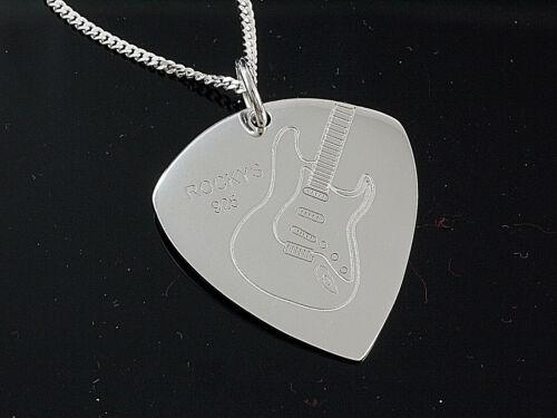 925 Silber Plektrum Kette Länge 45cm x 1,2 mm mit E Gitarre Design gelasert