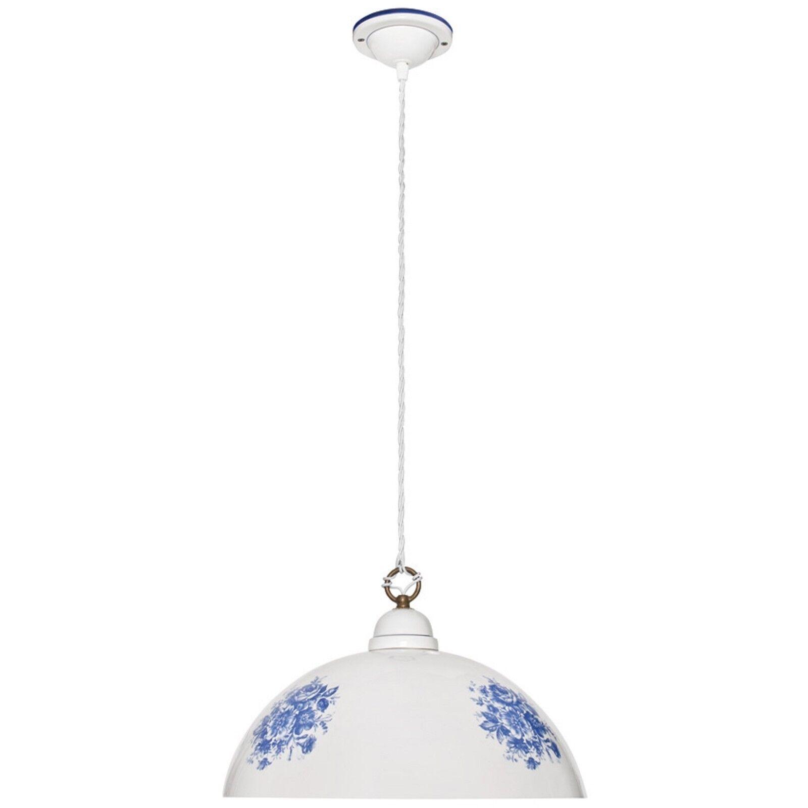 Pendelleuchte Hängeleuchte Keramik weiß blau 1x E27 max. 60W  CERAMICHE BORSO