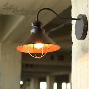 industrie wandleuchte wandlampe loft e27 wand lampe braun kupfer retro leuchte ebay. Black Bedroom Furniture Sets. Home Design Ideas