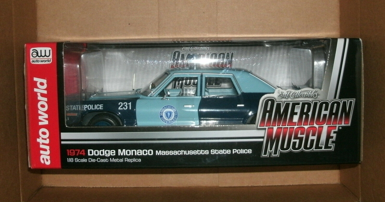 1 18 Scale 1974 Dodge Monaco Massachusetts State Police - Auto World AMM1023 MSP