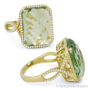 10-85-ct-Cushion-Cut-Green-Amethyst-amp-Diamond-Pave-14k-Yellow-Gold-Cocktail-Ring