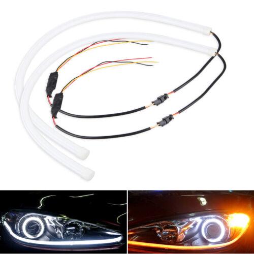 2X60cm Flexible Tube Phare Voiture LED Bande Blanc DRL ambre Tour Signal Lumière