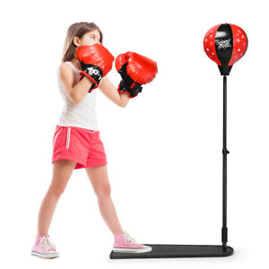 Kids Punching Bag w/ Adjustable Stand Boxing Gloves Boxing Set for Boys Girls